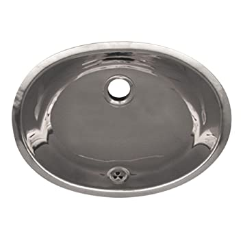 Oval Under-Mounted Bathroom Sink in Polished Stainless Steel