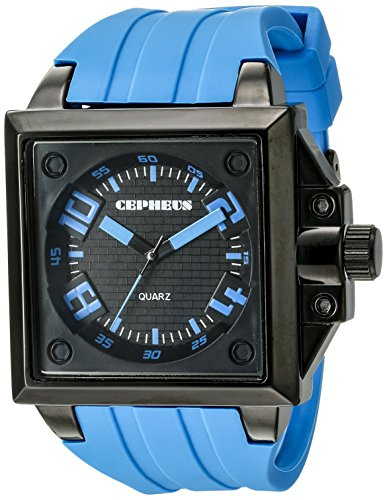 Cepheus Men's Quartz Watch with Black Dial Analogue Display and Blue Silicone Strap CP904-623