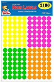 "Pack of 2100 3/4"" Round Color Coding Circle Dot Labels, Bright Neon Multicolored: Yellow, Pink, Green, Orange, 8 1/2"" x 11"" Sheet, Fits Any Printer"
