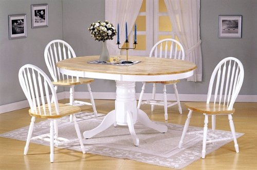 5pc White Natural Finish Oval Dining Table +4 Windsor Chair Set
