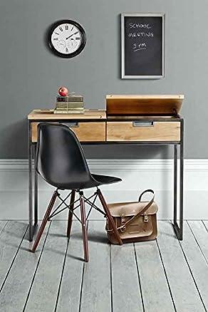 MY-Furniture QUBIX scrivania industriale in rovere massiccio e acciaio