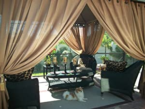 Outdoor Gazebo Patio Drapes Toffee Sheers 108 Includes 2 Panels Each Panel