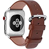 15 Colors for Apple Watch Bands, Fullmosa Yan Calf Leather Replacement Band/Strap for iWatch Series 3, Series 2, Series 1, Sport and Edition Versions 2015 2016 2017, 38mm Brown