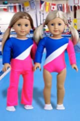 Olympic Gymnast - 2 piece outfit includes gymnastic leotard, warmup pants and white shoes - Clothes for 18 inch Dolls