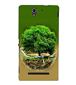 printtech Globe Tree Concept Nature Back Case Cover for Sony Xperia C3 Dual D2502::Sony Xperia C3 D2533