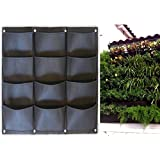 Garden Vertical Planter Multi Pocket Wall Mount Living Growing Bag Felt Indoor/Outdoor Pot (12-Pocket (3x4))