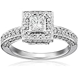 Kobelli 1 cttw Princess and Round Diamond 14k Gold Engagement Ring