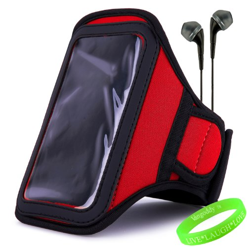Vangoddy Active Bundle - Neoprene Sweat-Proof Armband Pouch W/ Key & Id Card Holder Fits Samsung Galaxy S4 Android Smartphone // Fire Red \\ + Black Earphone Buds W/ Microphone