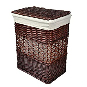 Rurality vintage wicker laundry basket with lid and cotton liner home kitchen - Wicker laundry basket with liner and lid ...