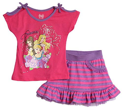 Disney Little Girls' Toddler 2 Piece Knit Pullover And Knit Divided Skirt, Pink, 2T