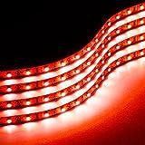 Zone Tech 30cm Flexible Waterproof Red Light Strips  4-Pack LED Car Flexible Waterproof Red Light Strips