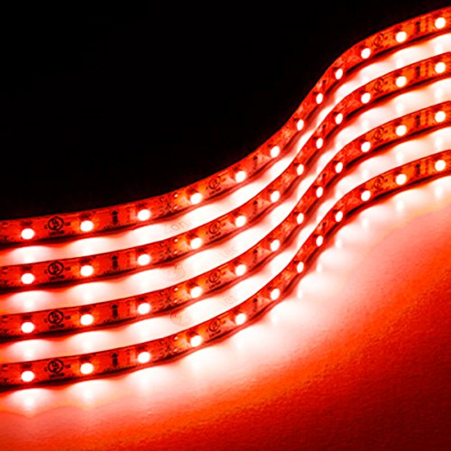 Zone Tech 30cm Flexible Waterproof Red Light Strips  4-Pack LED Car Flexible Waterproof Red Light Strips (Strip Light For Cars compare prices)