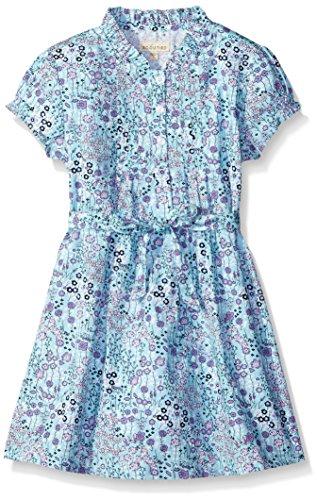 Scout + Ro Girls' Printed Poplin Dress, Aruba Blue, 7