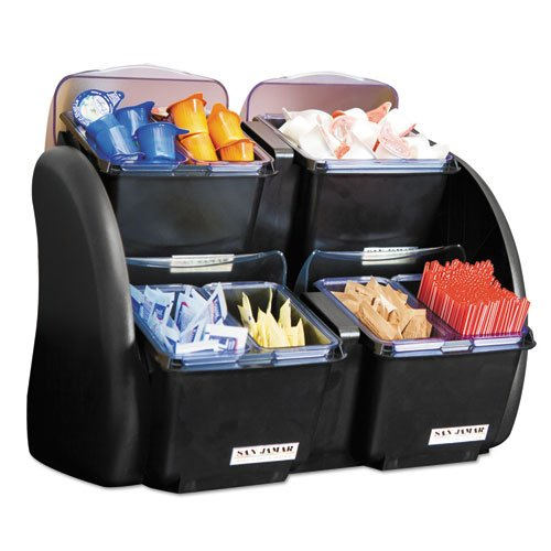 San Jamar - The Dome Garnish Center, 4 Compartments, Black/Clear, 5Qt Bds2483Nl (Dmi Ea back-583134