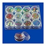 12pc Clear Bead Storage Gem Jars in Display Case - Screw-On Tops - Clear Acrylic - 1-1/2 In. Round