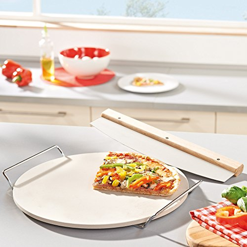 Ceramic Pizza Stone : Leifheit round ceramic pizza stone with carrying tray and