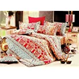 Dexim Cotton Floral Printed Bed Sheet With Two Pillow Cover Set - King Size, Red Blue
