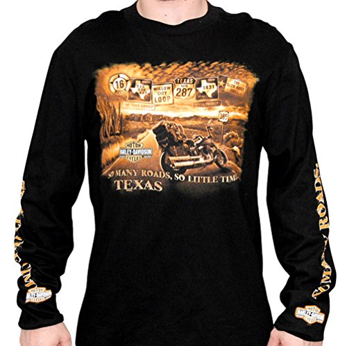 Harley-Davidson Mens Texas So Many Roads Long Sleeve Black T-Shirt - MD