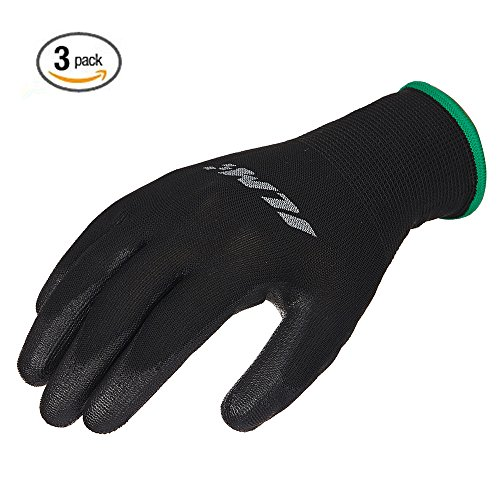 ILM 3 Pack Safety Work Gloves Utility Ultimate Nitrile Grip For Garden Electrician Automotive Kids Women Men (M, BLACK)