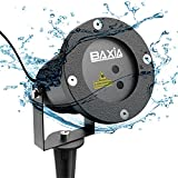 BAXIA TECHNOLOGY Waterproof Garden Laser Christmas Light - Red and Green Star Projector Show for Outdoor, Home, Landscape, Holiday and Party Lighting