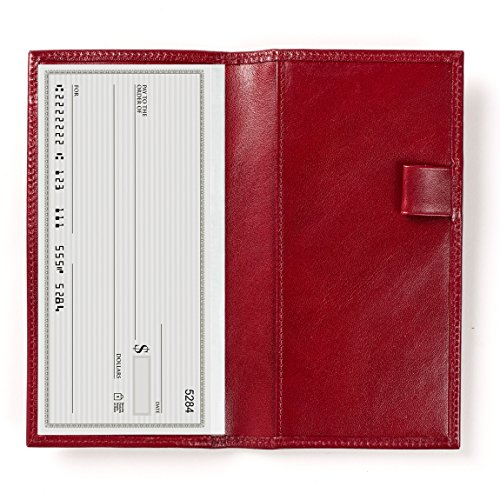 Deluxe Checkbook Cover with Divider - Dark Cherry Leather (red) - Italian Leather