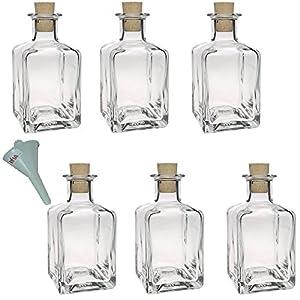 viva haushaltswaren lot de 6 petites bouteilles en verre avec bouchon en li ge 212 ml. Black Bedroom Furniture Sets. Home Design Ideas