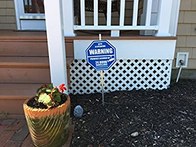 """1 """"REAL"""" CCTV Security Camera Home Alarm Yard Sign (9"""" x 9"""") with 36"""" Long Post with 6 Security Alarm System Stickers (White & Blue)"""