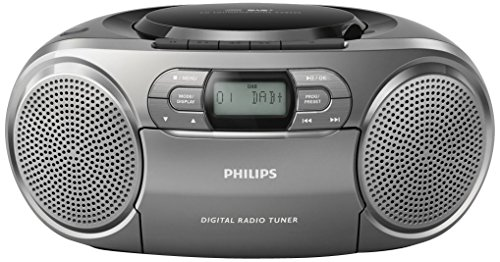 Philips AZB600 CD-Radiorekorder mit DAB+ (Dynamic Bass Boost, UKW-DAB+, CD, Kasseten-Deck) silber