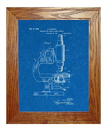 """Microscope And Counting Chamber Patent Art Blueprint Print In A Honey Red Oak Wood Frame (8.5"""" X 11"""")"""