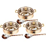 Set Of 3 Prisha India Craft ® High Quality Handmade Steel Copper Casserole With Lid And Serving Spoon - Set Of...