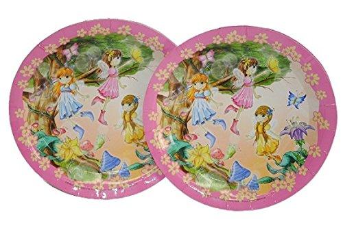 6 tlg. Set Pappteller Fee Elfen Mädchen Teller Essen Kinder Kinderparty Prinzessin rosa pink Elfe thumbnail