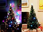 7 FT ARTIFICIAL GREEN PRE-LIT MULTI COLOR LED FIBER OPTIC CHRISTMAS TREE WITH STAR TOPPER