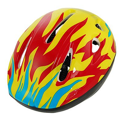 Como Child Kids Yellow Red Rollerblade Bike Cycling Skating Fire Flame Helmet