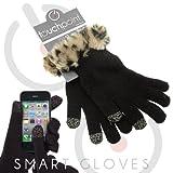 TouchPoint スマートフォン対応ファー付きニット手袋 レオパード×ブラック
