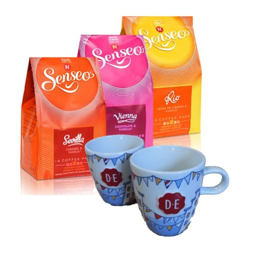 Senseo Coffee Pods City Tour - Rio De Janeiro, Sevilla, Vienna, 42 Pods + 2 Original D.E. Senseo Coffee Cups