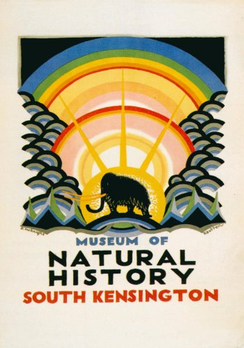 c1923 Vintage Travel ENGLAND, LONDON UNDERGROUND Natural History Museum 250gsm ART CARD Gloss A3 Reproduction Poster
