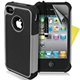 Supergets® Shock Proof Dual Layer Apple Iphone 4 4g 4s Protective Case,Screen Protector And Polishing Cloth - Grey