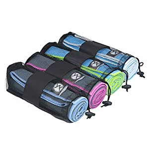 Youphoria Sport Microfiber Travel Towel and Sports Towels (Gray/Blue - 20