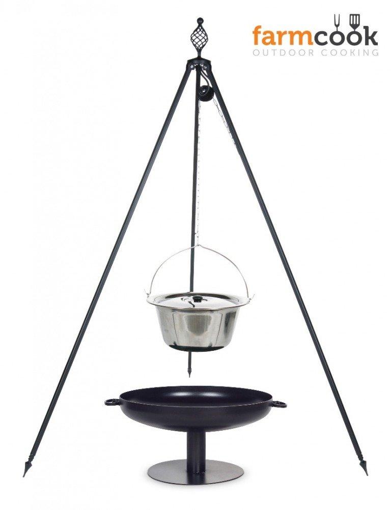 Dreibein Grill OSKAR Höhe 210cm + Topf 14 Liter aus Edelstahl + Feuershale Pan41 günstig bestellen