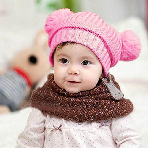 Nation Cute Baby Kids Girl Boy Dual Balls Warm Winter Crochet Knitted Cap Hat Beanie Caps (Pink)