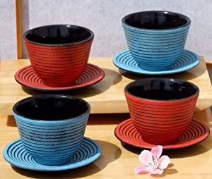 Cast iron blue & red Zen Ripple tea cups and round coaster X4