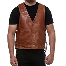 Bareskin Tan Color 100% Genuine Continental Leather Biker Vest For Men With Side Braid Style/Hand Made Leather Jacket /Hand Finished Leather Jacket/Branded Leather Biker Vest/Designer Leather Jacket For Men/Best Biker Vest/Stylish Biker Jacket/Longer Lasting/Quick Delivery