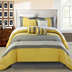 Diamante Yellow 8 Piece Comforter Bed In A Bag Set