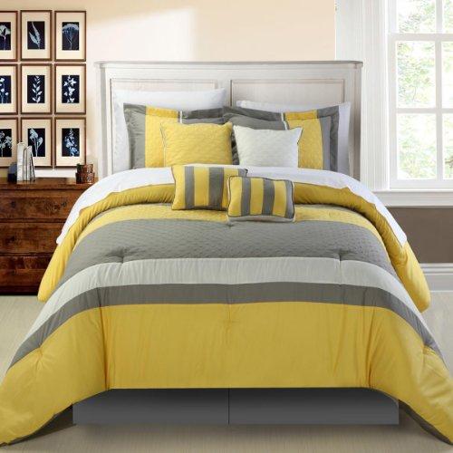 Versatile yellow and grey gray 8 piece comforter set