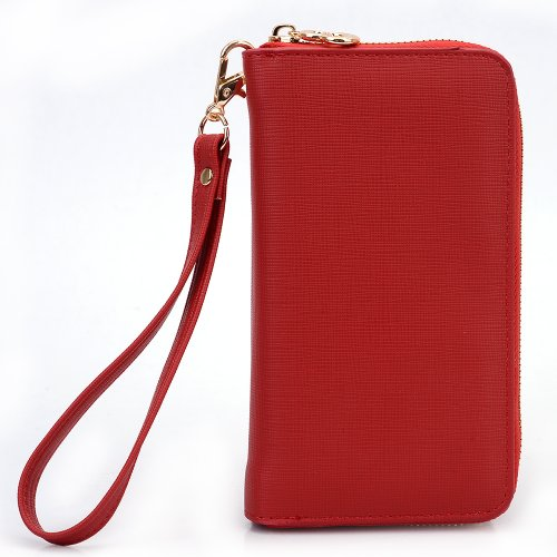 On-the-go EPI leather lady wallet wristlet 2in1
