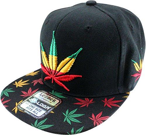 Enimay-Weed-Marijuana-Pot-Leaf-Snapback-Hat-Rasta-Black-Big-Small-Leaf