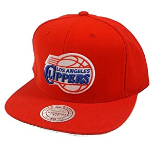 Los Angeles Clippers Mitchell & Ness Vintage Basic Logo Red Snap Back Hat by Mitchell & Ness