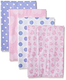 Gerber Baby Girls\' 4 Pack Flannel Burp Cloths, Leopard, One Size