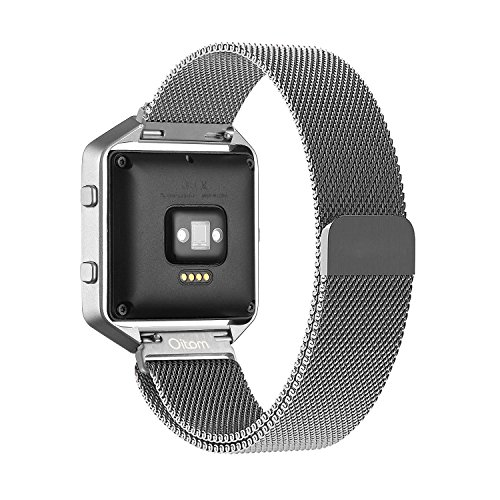Accessory Band Large (6.7-8.1 in),Oitom® Milanese loop stailess steel Bracelet Strap for Fitbit Blaze Smart Fitness Watch, Black, Silver, Large...