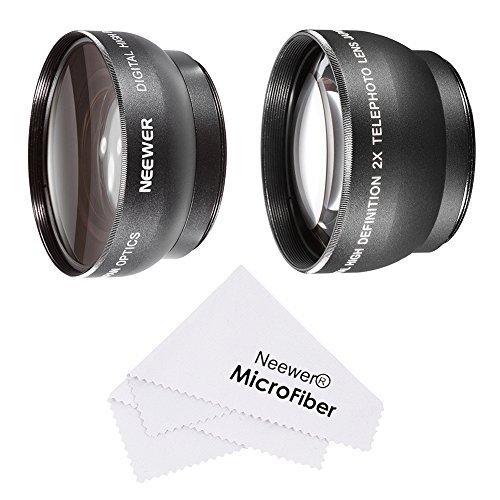 Neewer® 52MM Objektivgarnitur für NIKON DSLR (D7100 D7000 D5200 D5100 D5000 D3300 D3200 D3100 D3000 D90 D80) enthält : (1) 0.45x Weitwinkel-Objektiv + (1) 2x Tele-High-Definition-Objektiv + (1) Mikrofaser Reinigungstuch